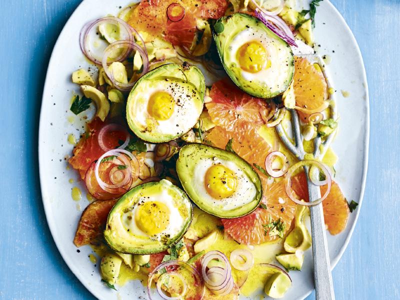 Avocado-Eier mit Blutorangensalat