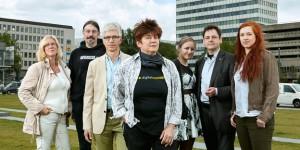 Rena Tangens (Mitte) und ihre MitstreiterInnen - unerschrocken allesamt  Bild: Anja Weber